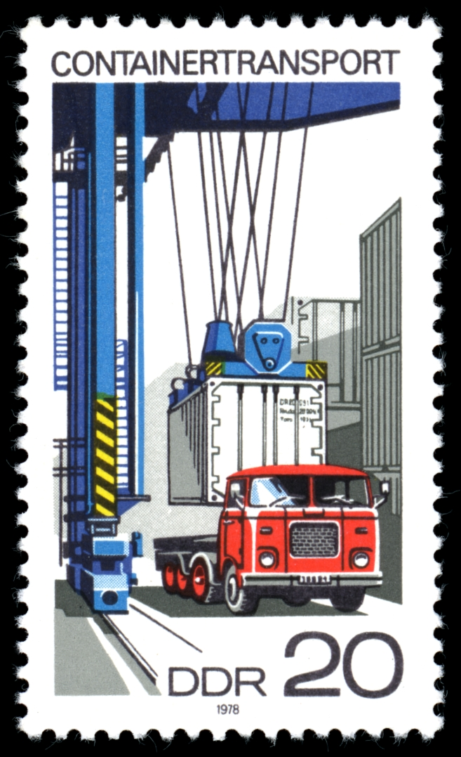 Containertransport - Briefmarke der DDR 1978 - Quelle: WikiCommons