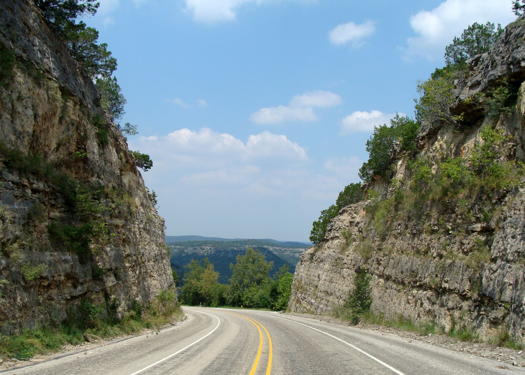 View of highway in Texas Hill Country