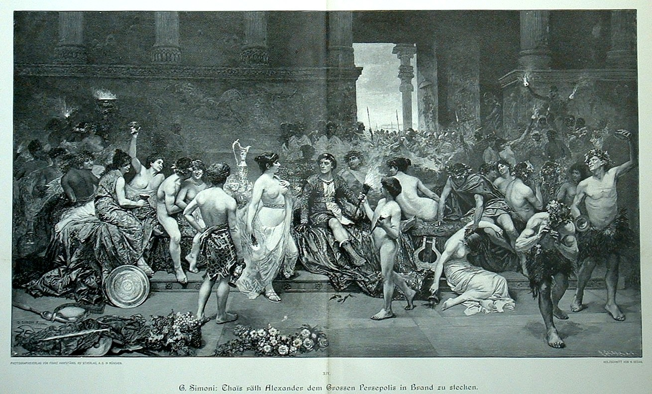 https://upload.wikimedia.org/wikipedia/commons/a/a2/Thais_calls_upon_Alexander_the_Great_to_put_the_palace_of_Persepolis_to_the_torch_by_G._Simoni.jpg