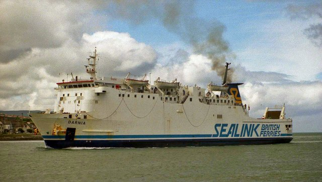 """The """"Darnia"""" served on the Larne-Stranraer route from 1978 to 1991 until the introduction of Stena Antrim(St Christopher) by new owners Stena Line. Albert Bridge [<a href=""""http://creativecommons.org/licenses/by-sa/2.0"""">CC BY-SA 2.0</a>], <a href=""""https://commons.wikimedia.org/wiki/File%3AThe_%22Darnia%22_at_Larne_-_geograph.org.uk_-_631162.jpg"""">via Wikimedia Commons</a>"""