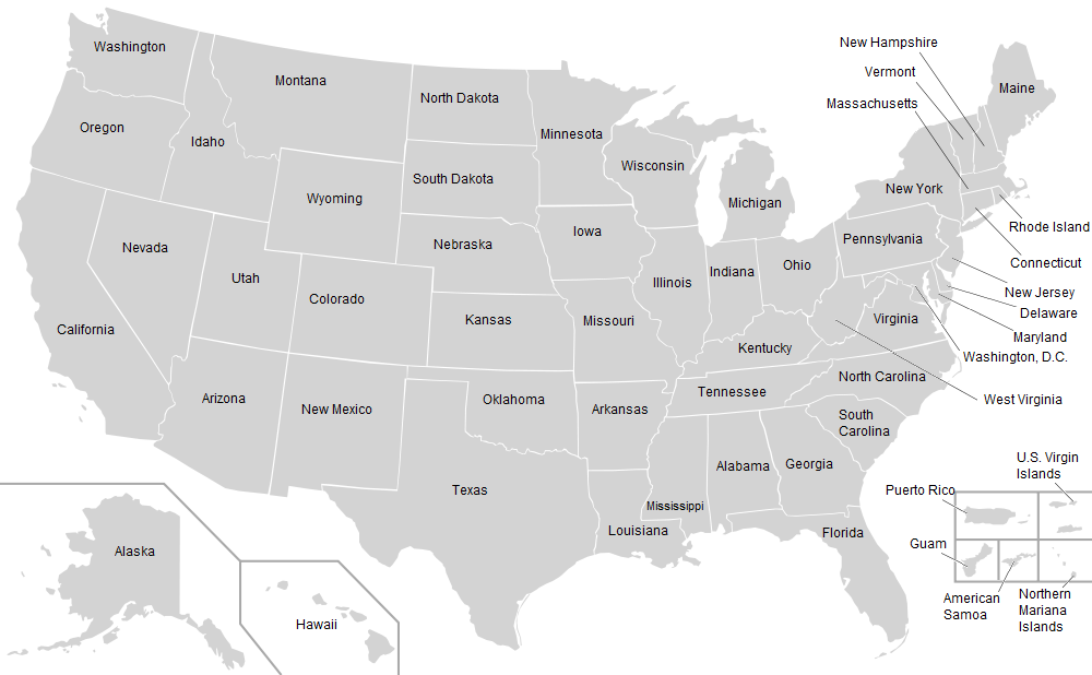 United States Map Labeled - Labeled map of us states