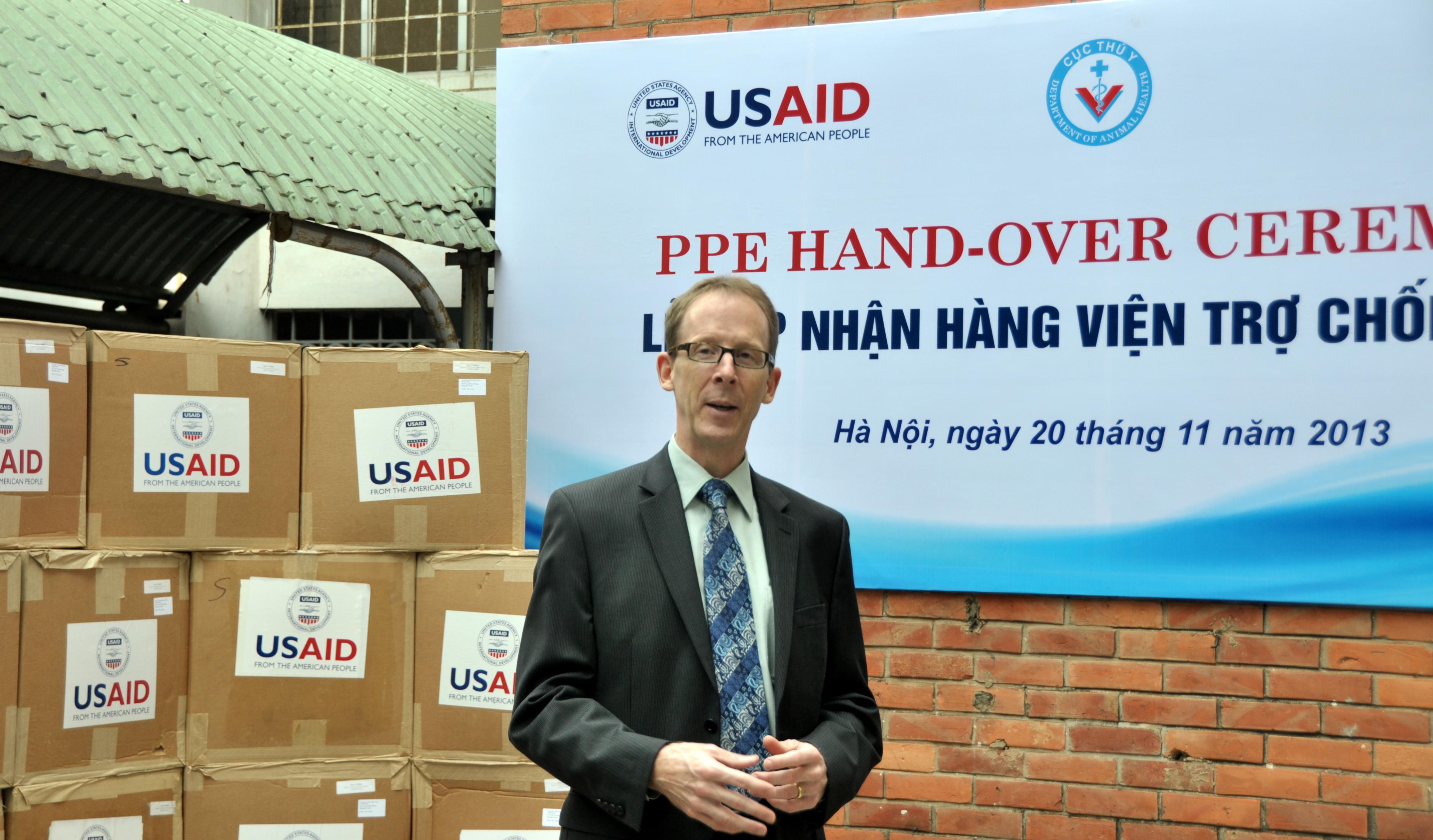 USAID Mission Director Joakim Parker speaks at the personal protective equipment handover ceremony. (10957507346).jpg Hanoi, November 20, 2013