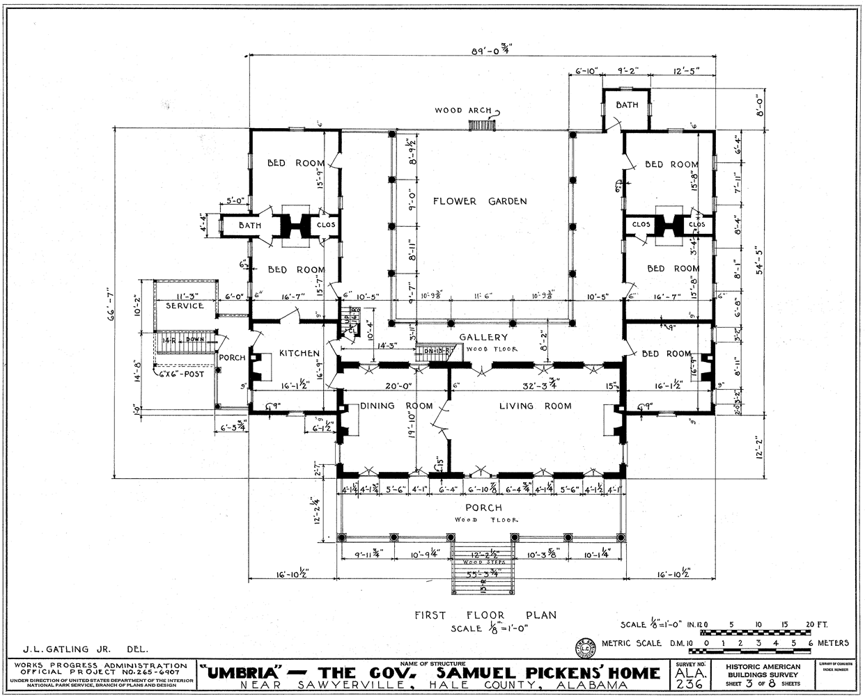 File:Umbria Plantation  Architectural plan of main floor