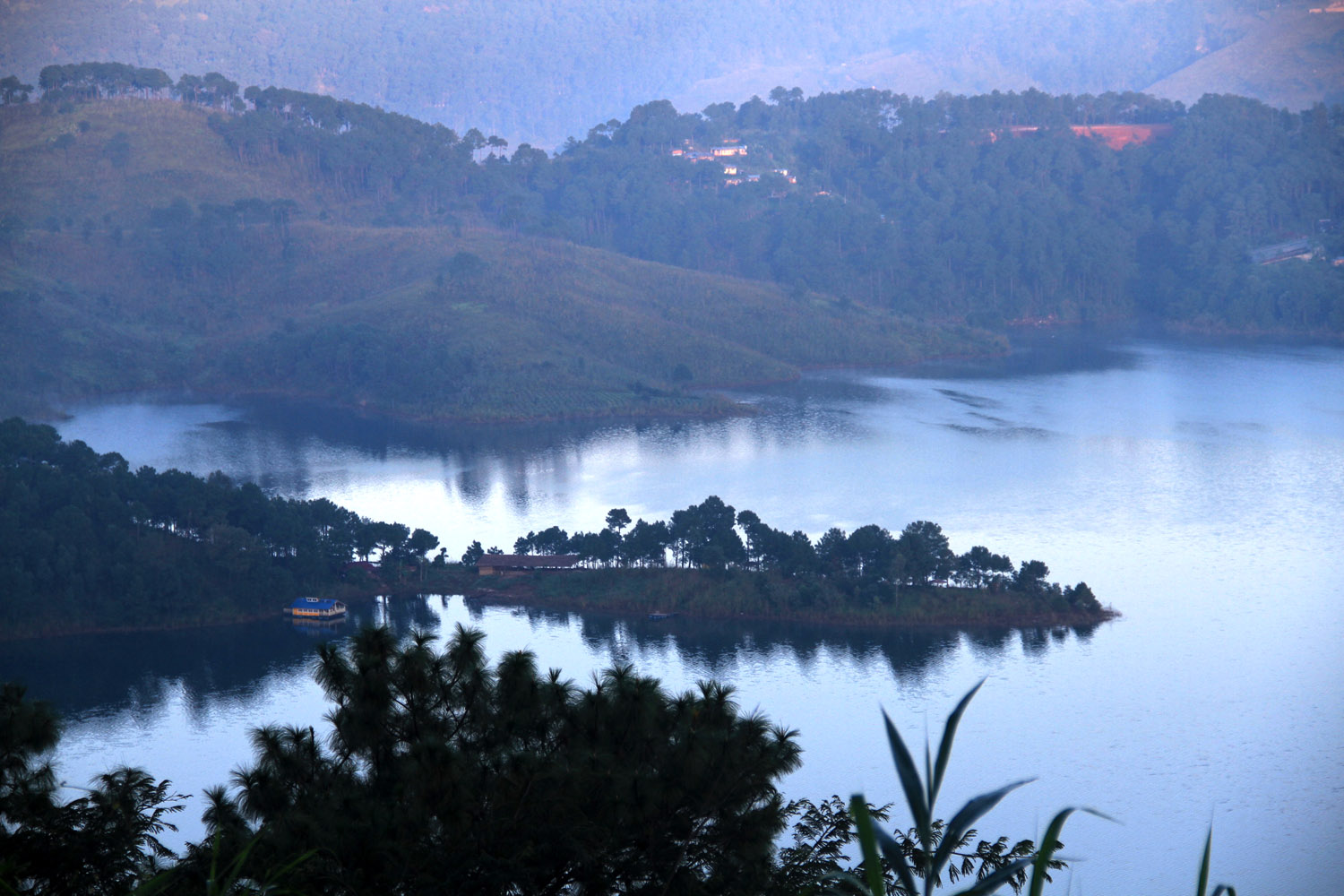A bird's eye view of Umiam lake a must-see from the places to visit near Shillong.