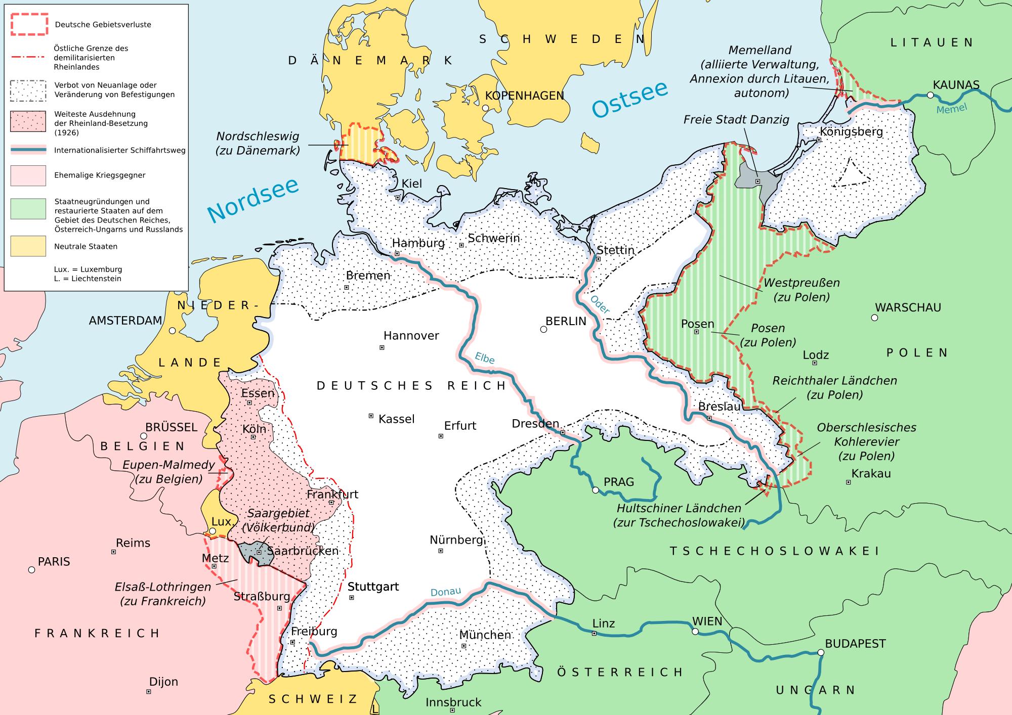 Deutsche Gebietsverluste durch den Versailler Vertrag in Europa