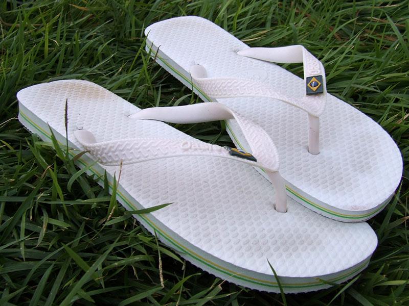 White flip flops with Brazilian flag