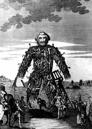 An 18th century engraving of a Celtic wicker man.