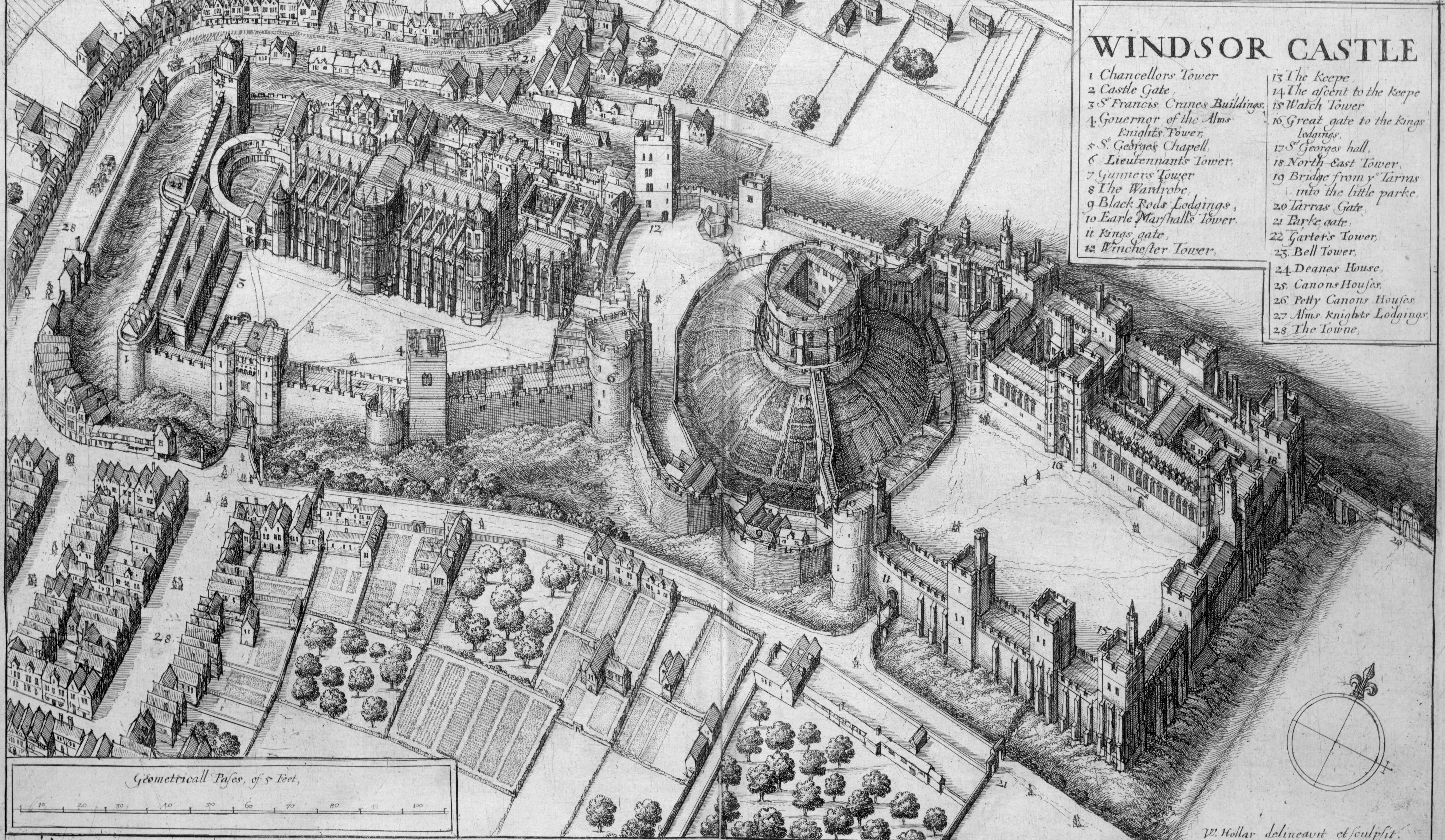 A detailed engraving of a castle, seen from the air. The castle is divided in three pieces, with a domed mound in the middle, upon which is a keep. The castle and walls look stubby and short from this angle.
