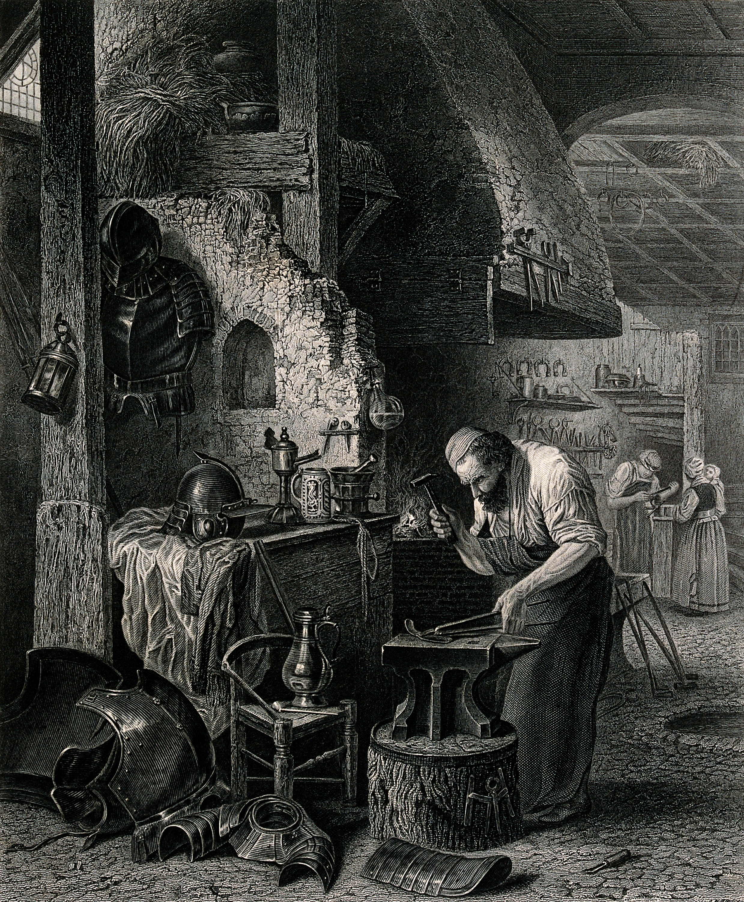 An engraving of a blacksmith hammering at a piece of metal on his anvil as he makes suits of armour. Engraving by J. Godfrey after H. Leys. / CC BY 4.0 [Wellcome]