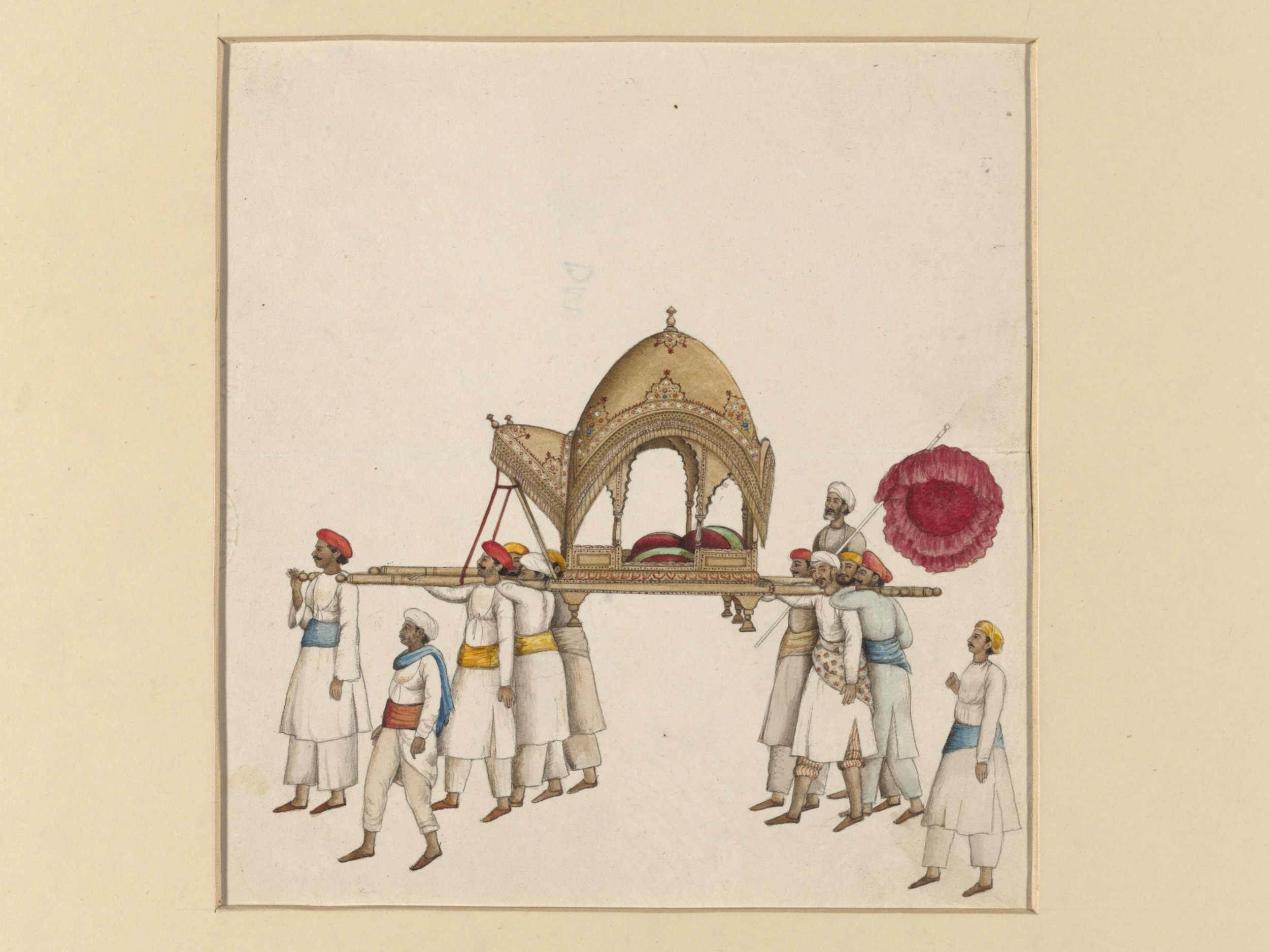 File A Covered Sedan Chair Being Carried By Eight Or Nine Men Wearing White With Various Coloured Sashes And Turbans Jpg Wikimedia Commons