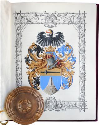 File:Adelsdiplom - Demelt von Karlstreu 1890 - Wappen.jpg