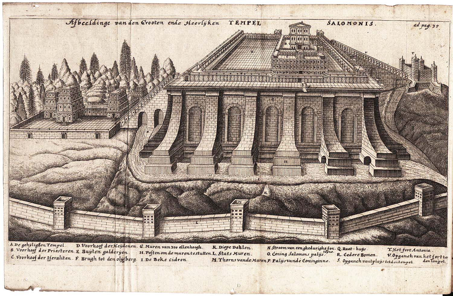 Temple of Solomon, Engraving from Jacob Judah Leon , 1665