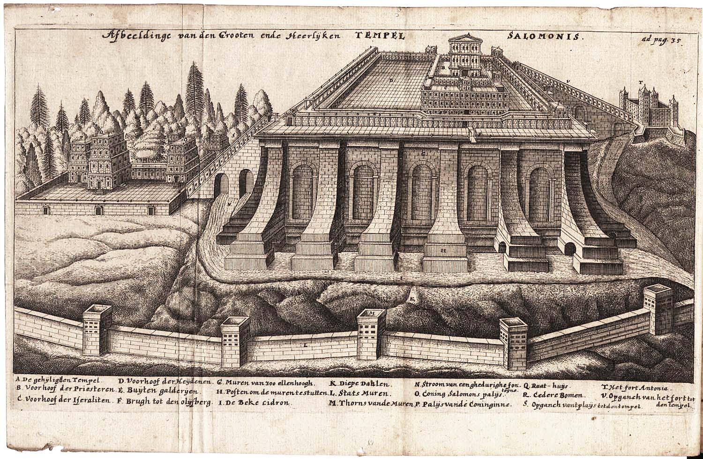 Temple of Solomon, Engraving from Jacob Judah Leon , 1665