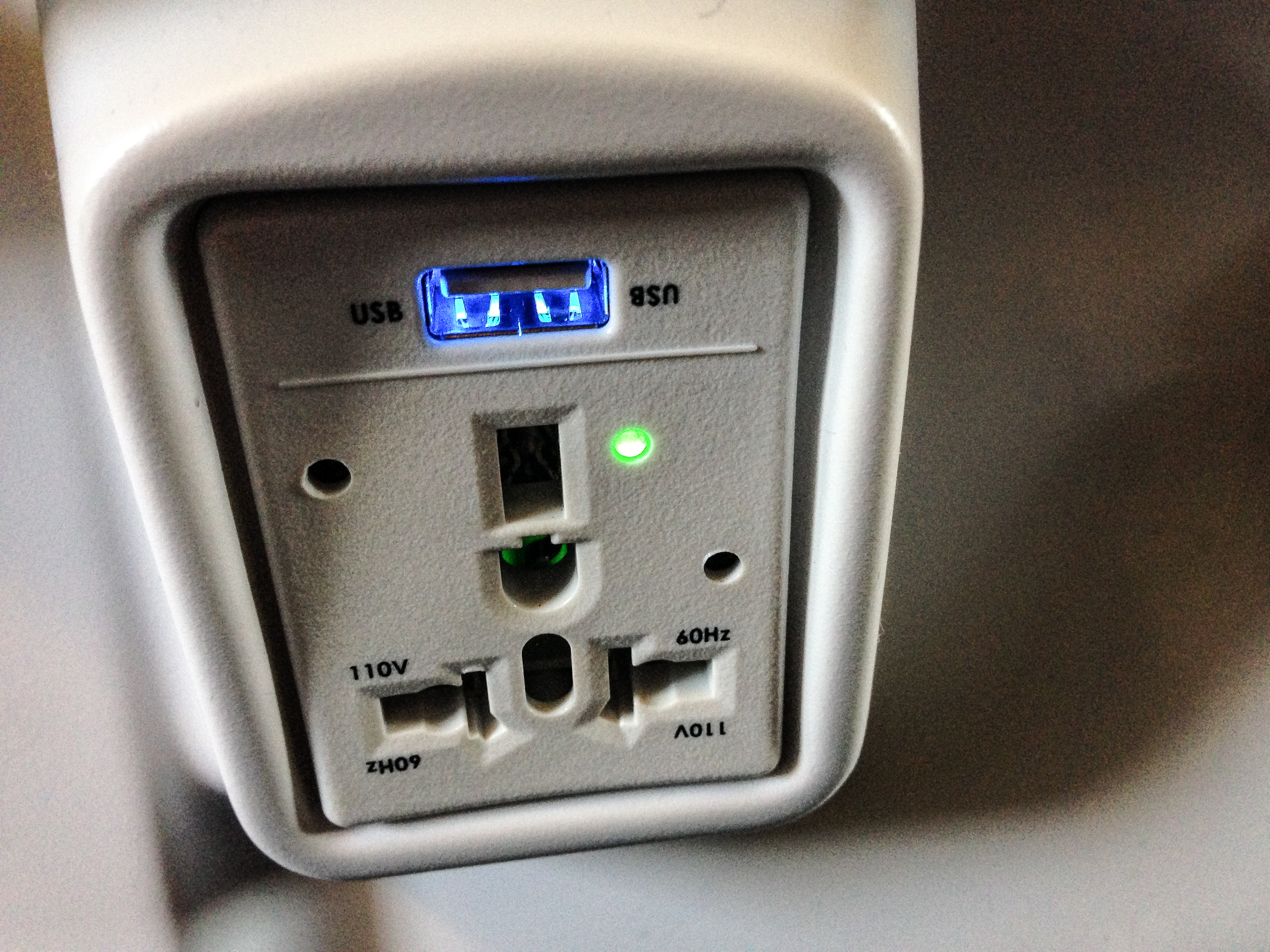 USB charger in an airplane