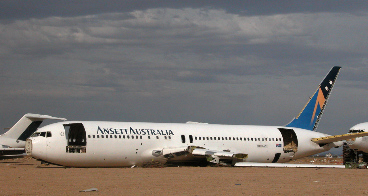 Retired Ansett Australia Boeing 767-204 (ex VH-RMO, N807AN) being cut up for scrap at the Mojave Airport.