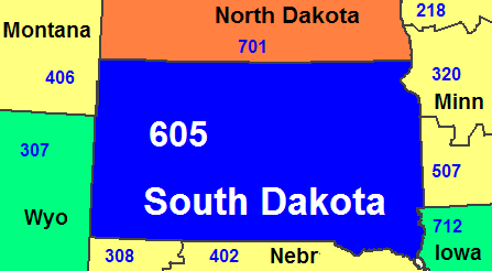 Map of South Dakota's area code in blue (with border states)