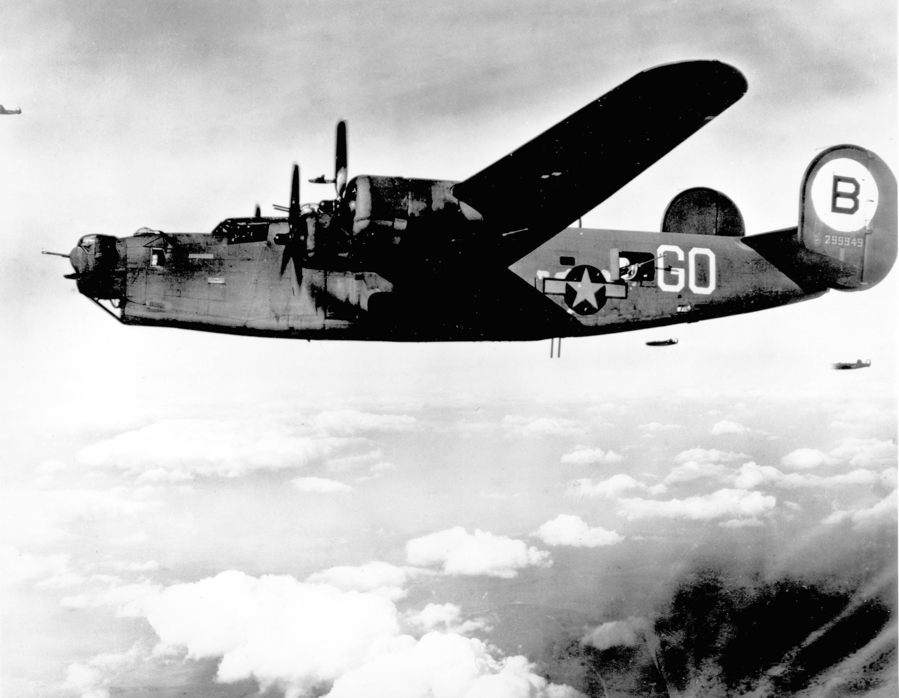 Consolidated B-24 1940's -- Consolidated B-24's over Friedrichshaven, Germany. The B-24 was employed in operations in every combat theater during World War II. (U.S. Air Force photo