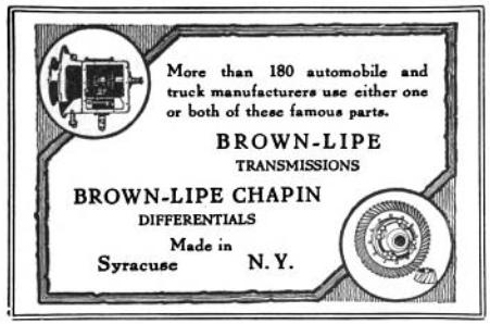 Brown-Lipe transmissions - Brown-Lipe Chapin differentials - 1917
