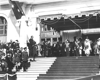 Bruce speaking at the opening of Parliament House, Canberra on 9 May 1927 Bruce opens Parliament House, Canberra.jpg
