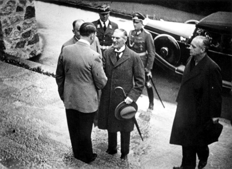 English Prime Minister Chamberlain and Adolf Hitler on the steps of the Berghof