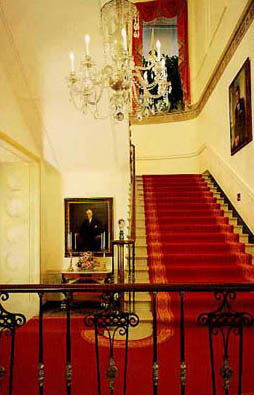 The Grand Staircase, leading up to the Second Floor.