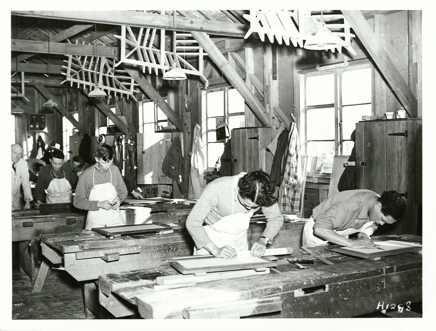 https://www.archives.govt.nz/copyright English Carpentry Trainees - Trainees at the drawing board