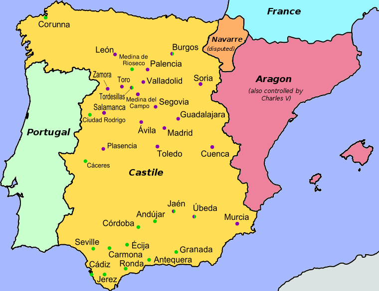 Revolt Of The Comuneros Wikipedia - Portugal map wikipedia