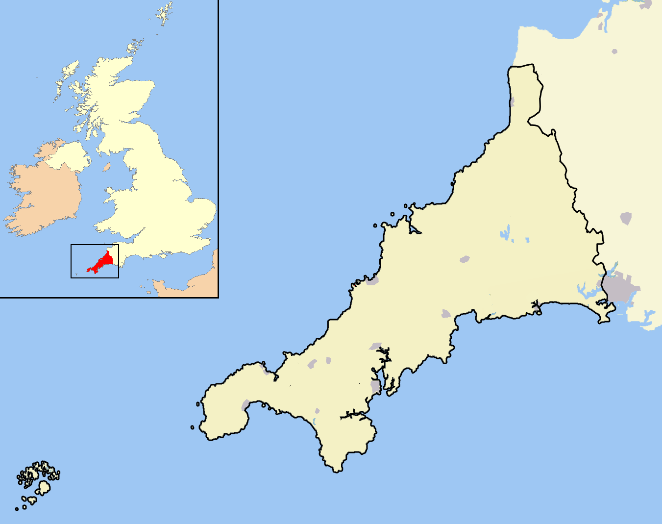 Cornwall Outline Map With Uk