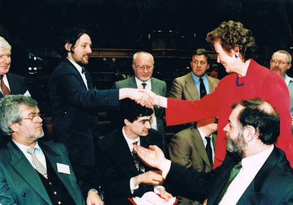 Damon Matthew Wise shaking hand of President Robinson 11th March 1999.jpg