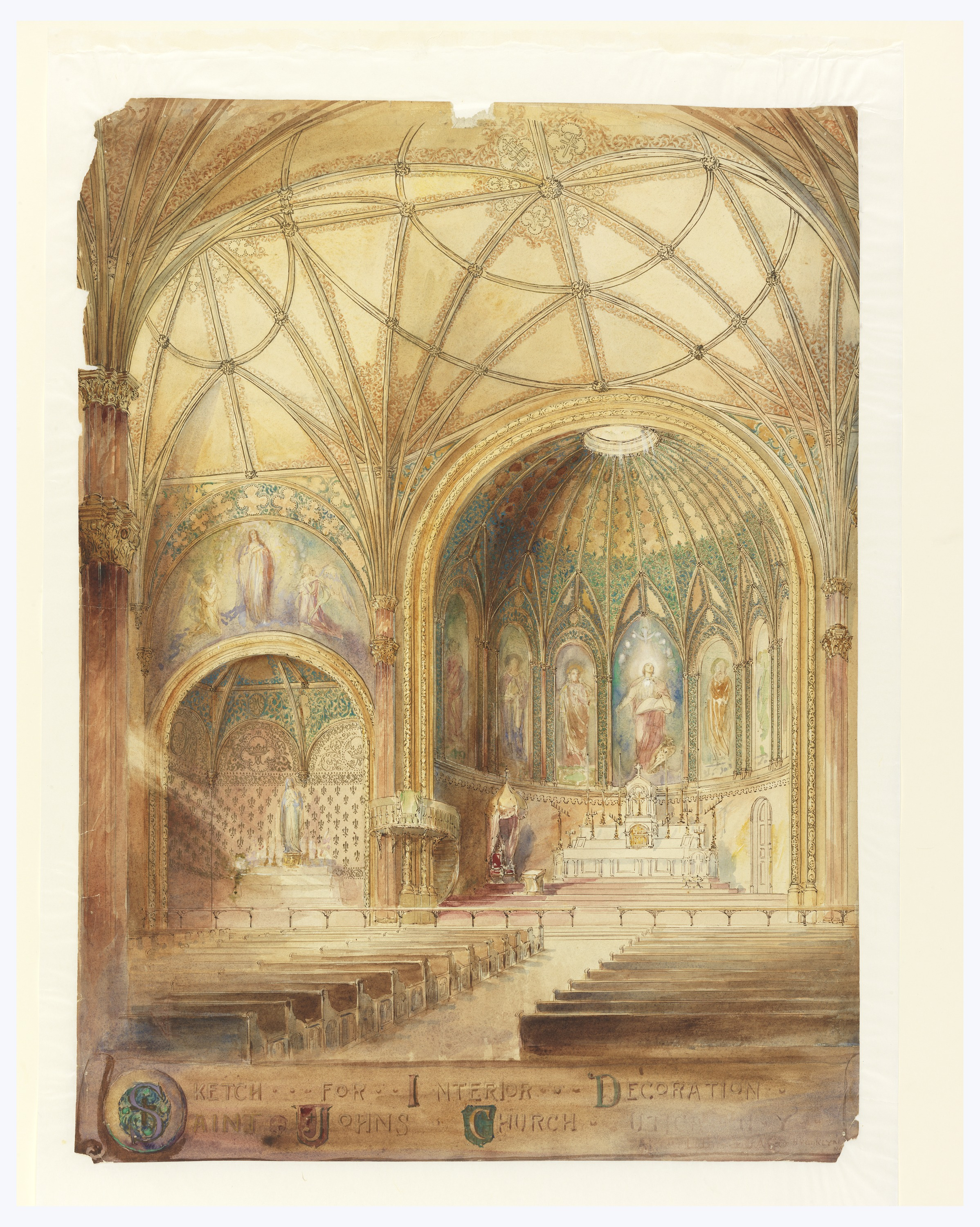 File:Drawing, Rendering of Interior, St. John\'s Church, Utica, NY ...