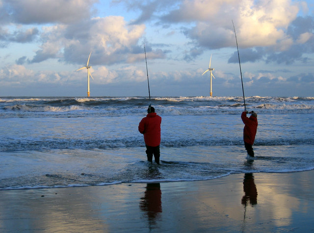 Fishermen & wind turbines from Blyth North Beach