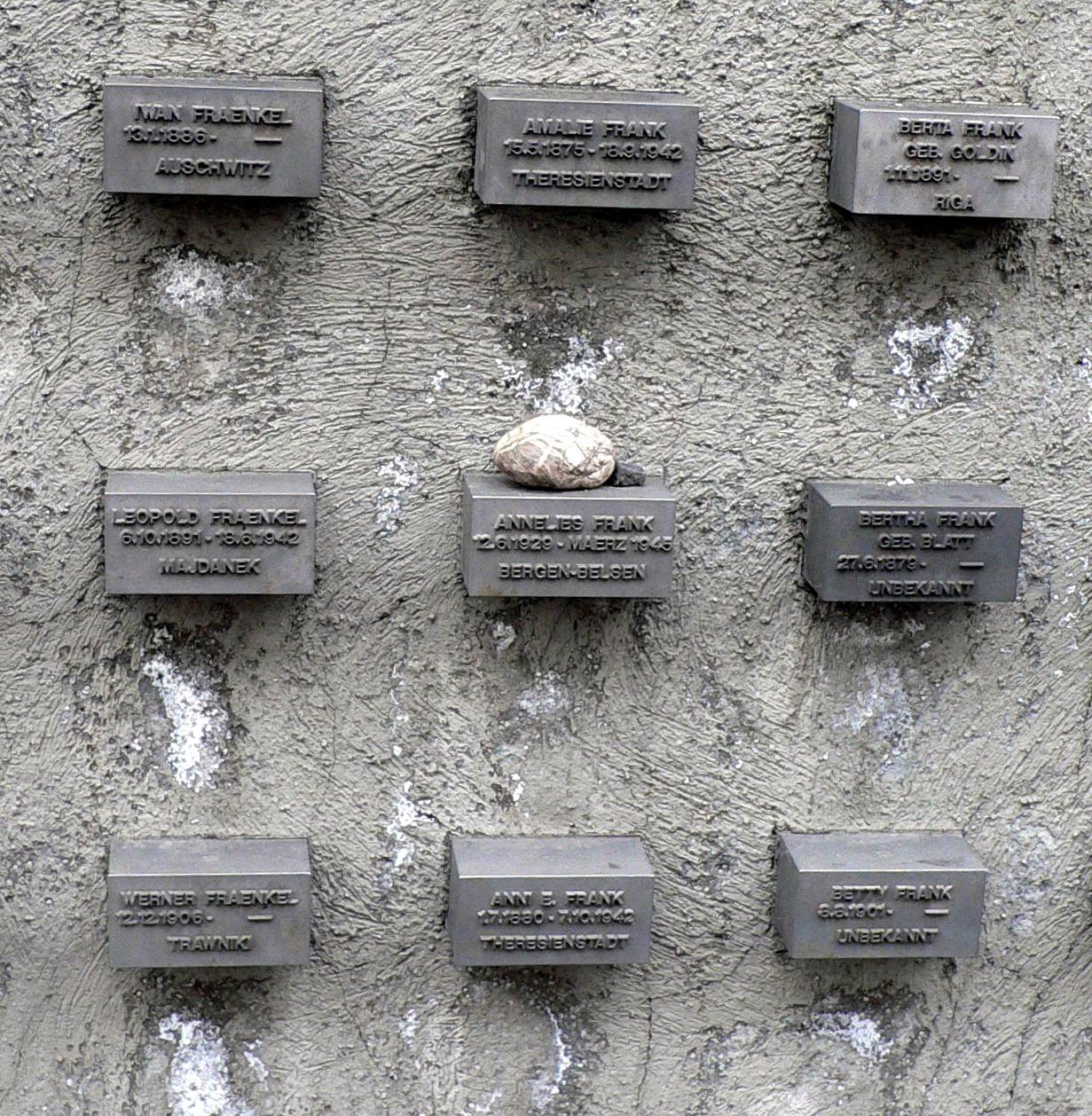 gedenksteine ausschnitt mit stein fr anne frank