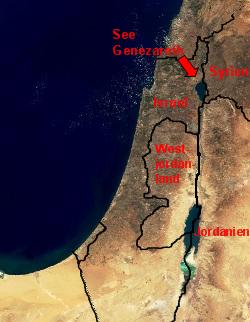 Karte des Nahen Ostens, See Gennesaret markiert