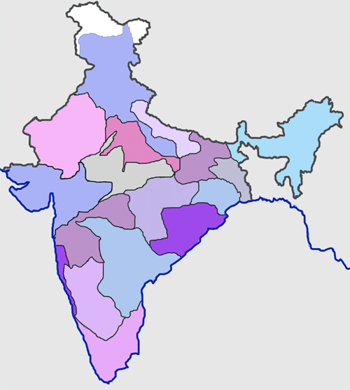 Blank India Map Indianrailwayzones-blank.png