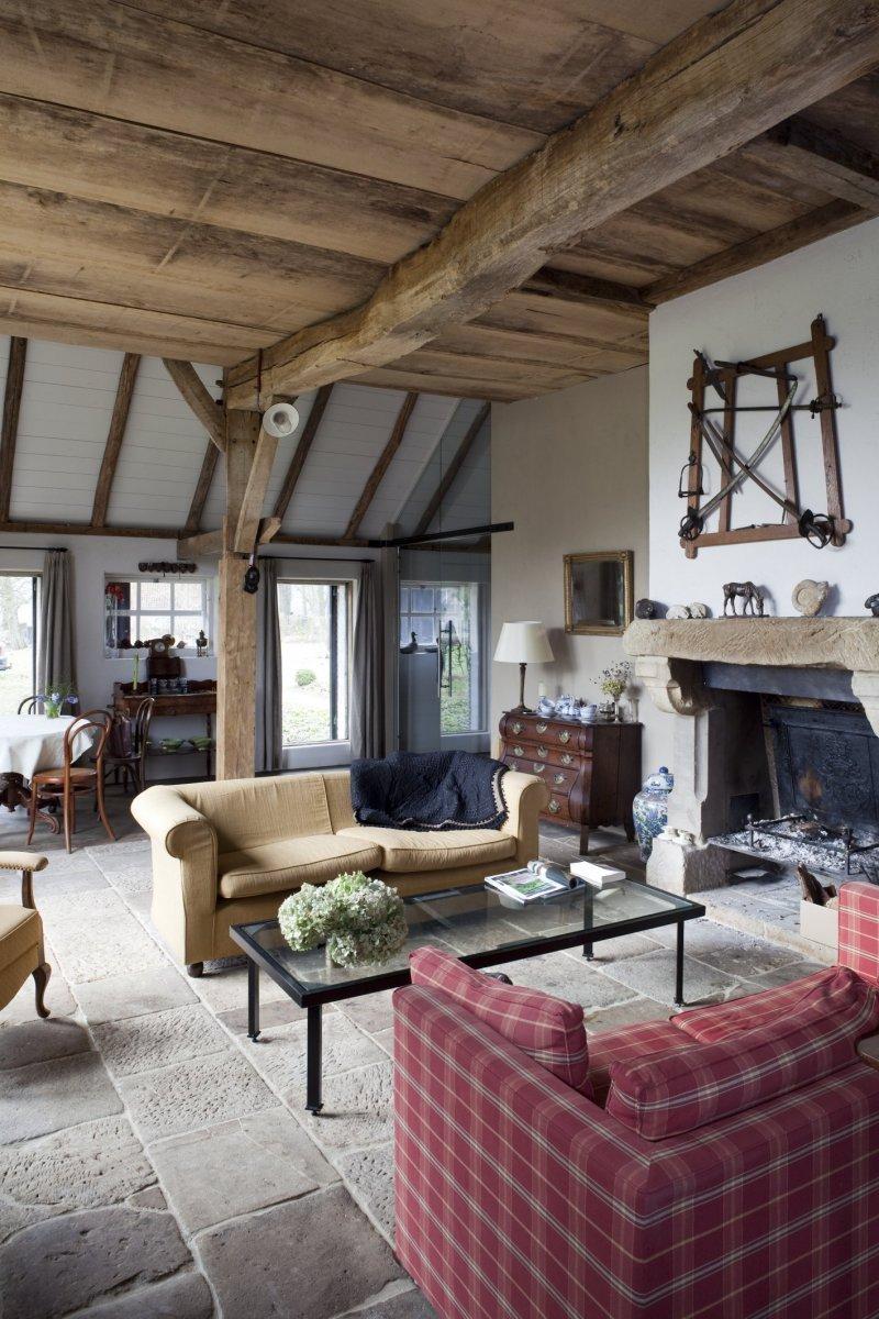 Description Interieur woonkamer met open haard - Fleringen - 20532752 ...