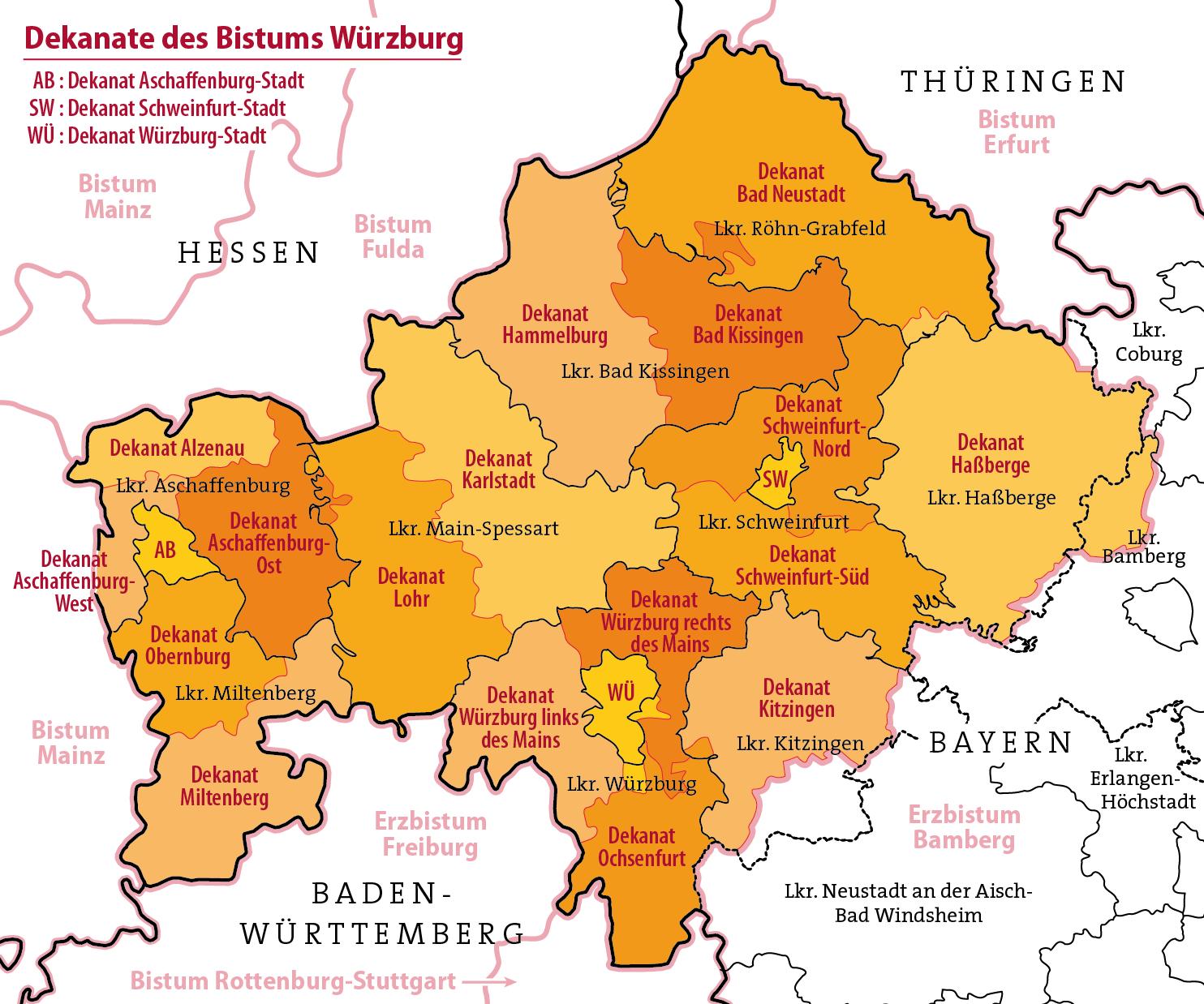 würzburg karte Datei:Karte Dekanate des Bistums Würzburg.png – Wikipedia würzburg karte