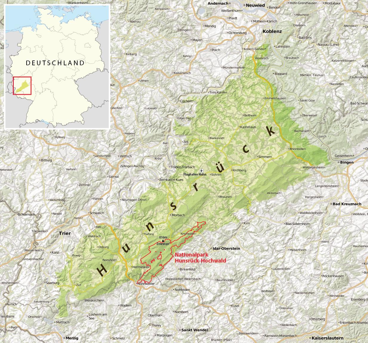 Hunsrück Hochwald Karte.Datei Karte Hunsrück Png Wikipedia