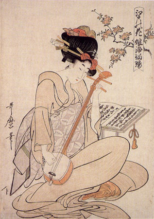 "Woman playing the shamisen. Kitagawa Utamaro, ""Flowers of Edo: Young Woman's Narrative Chanting to the Samisen"", c. 1800"