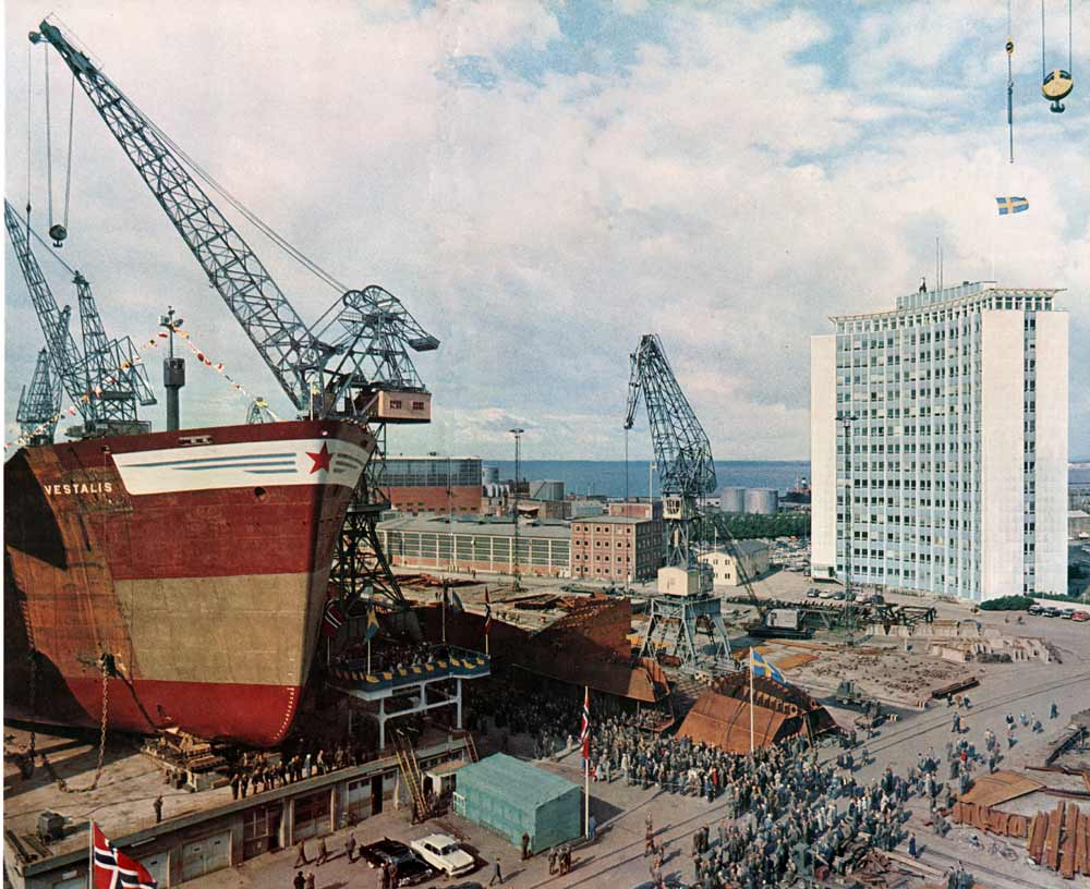 Chantier naval de Malmo en 1962 - Photo de K. W. Gullers