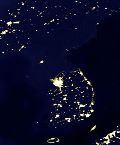Image result for korean peninsula at night satellite