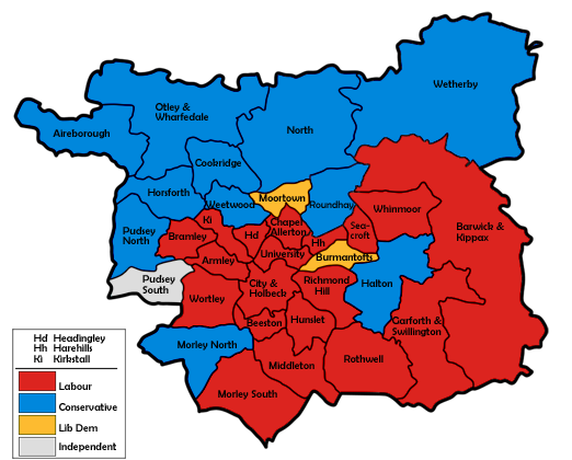 Map of the results for the 1992 Leeds council election.