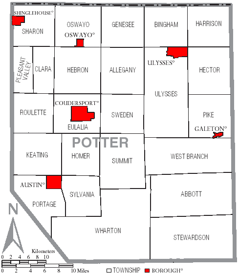 Map of Potter County highlighting towns