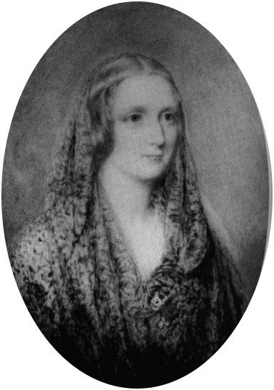 Miniature portrait of Mary Shelley.