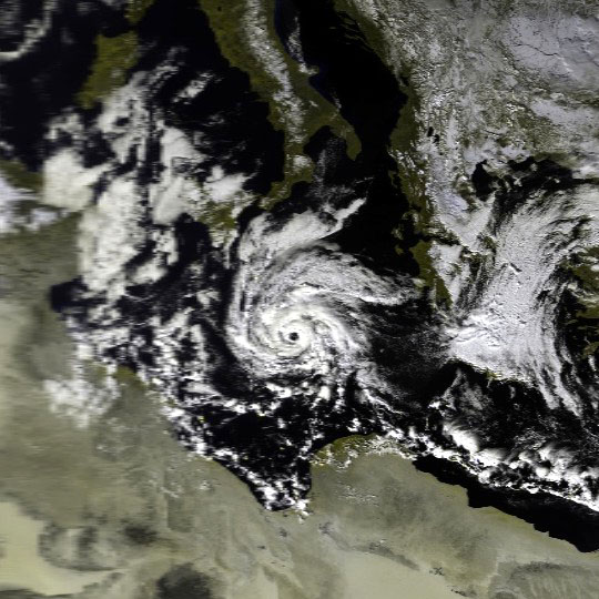 Satellite imagery of a well-documented Mediterranean tropical-like cyclone on 16 January 1995 Mediterranean Cyclone 16 jan 1995 1004Z.jpg