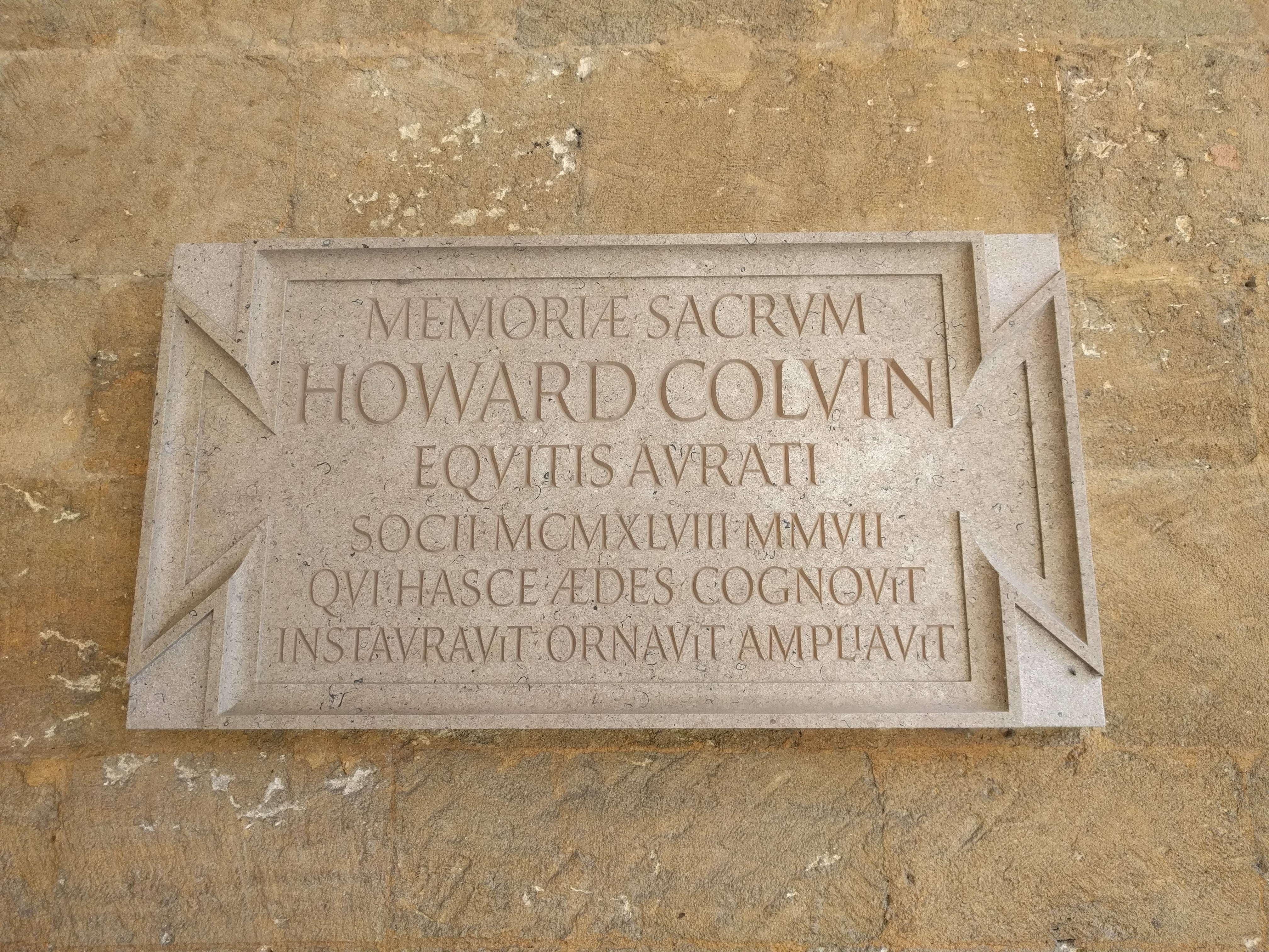 Memorial plaque, St John's College Oxford