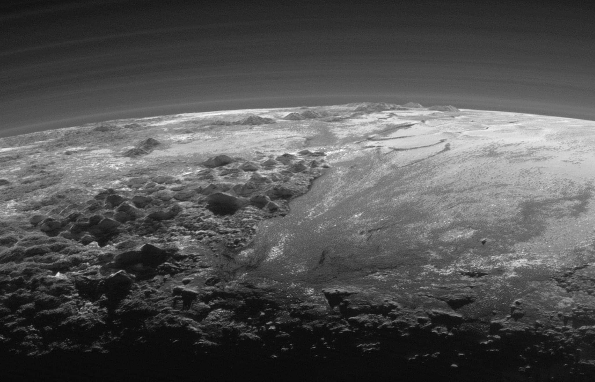 Extraterrestrial Skies Wikipedia 451plutosolarsystemdiagramjpg Pluto Norgay Montes Left Foreground Hillary Skyline Sputnik Planitia Right Near Sunset View Includes Several Layers Of Atmospheric