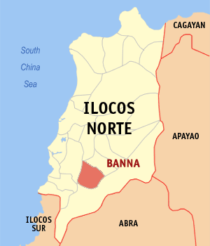 Map of Ilocos Norte showing the location of Banna