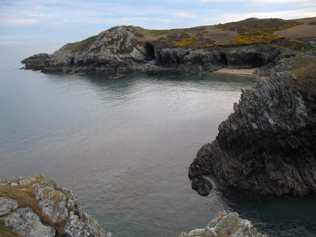 Porth Rhwydau A view looking to the south west from the coast path towards the small beach of Porth Rhwydau.