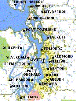 Puget sound travel guide at wikivoyage map of puget sound with major cities sciox Choice Image