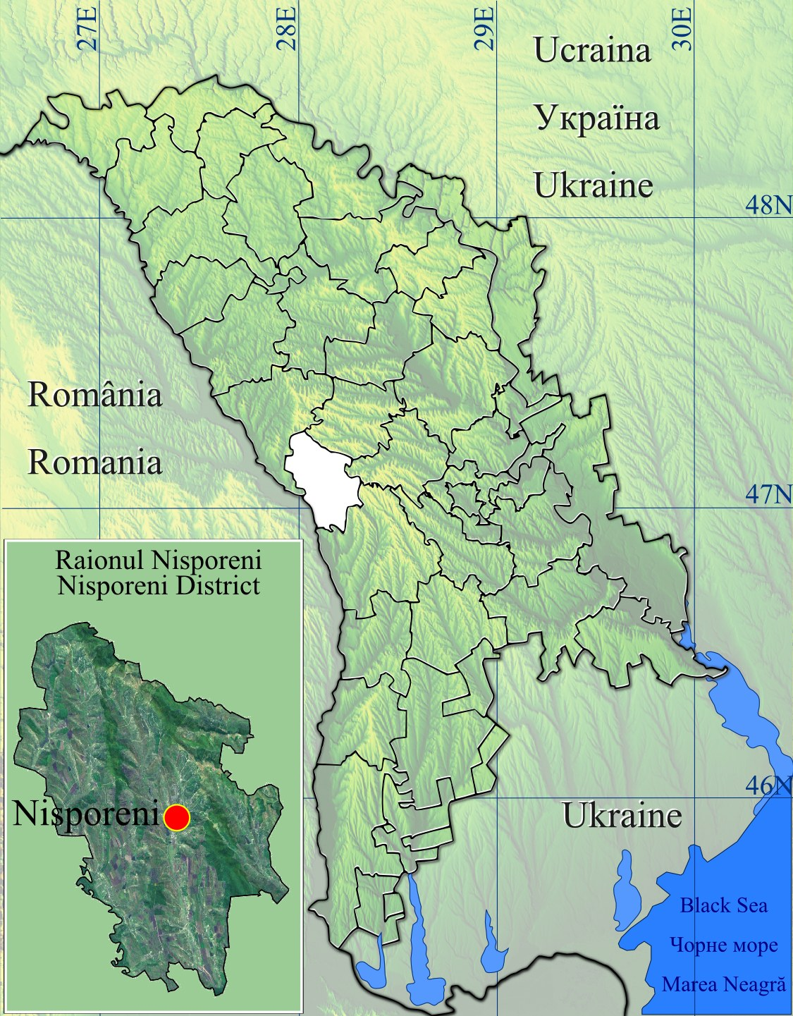 Raionul Nisporeni Location Map